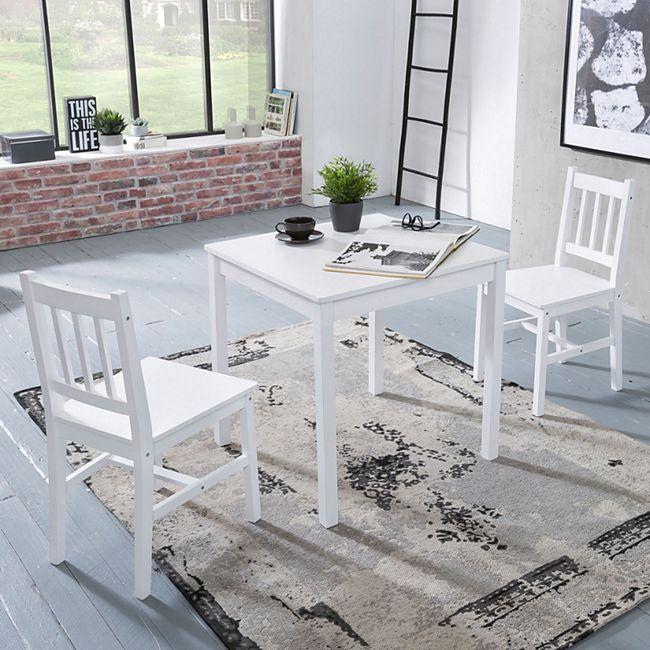 Wohnling Esszimmer-Set EMIL 3 teilig Kiefer-Holz weiß Landhaus-Stil ...