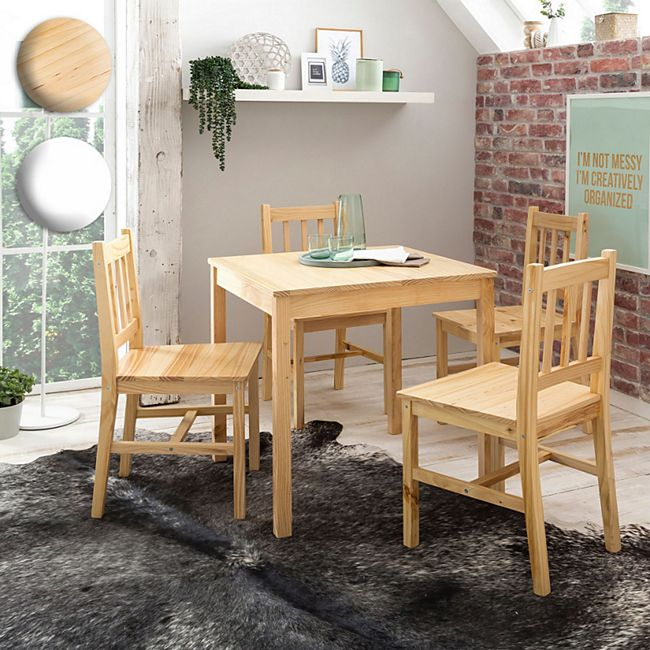 Holz Teilig 5 CmNatur Essgruppe Stühle Set Esszimmer 70 1 Landhaus Weiß Stil 4 Tischgruppe Emil Wohnling 73 Tisch Esstischset Kiefer X uKJc3TFl1