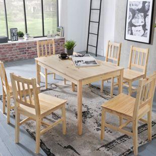 Wohnling Esszimmer Set EMIL 7 teilig Kiefernholz Landhaus 120x73x70 cm Essgruppe Tischgruppe Esstischset - Bild 1