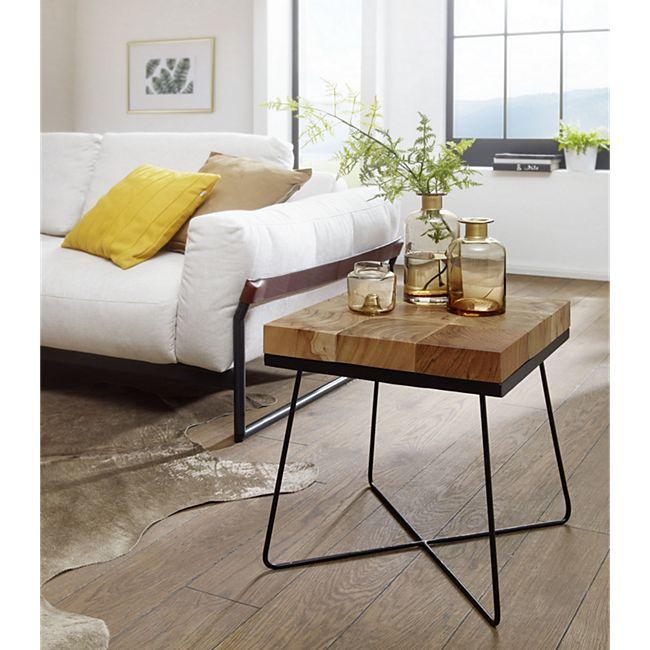 Wohnling Beistelltisch ZARI 45 x 45 x 51 cm Akazie Massivholz Metallgestell Anstelltisch Wohnzimmertisch - Bild 1
