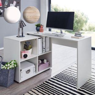 Wohnling Eckschreibtisch mit Regal 117 x 75,5 x 88 cm Winkelschreibtisch Home Office Modern Arbeitszimmer - Bild 1