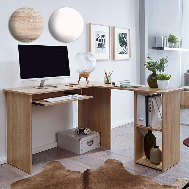 Wohnling Schreibtischkombination´140 x 75,5 x 120 cm Eckschreibtisch Home Office mit Regal und Tastaturauszug - Bild 1