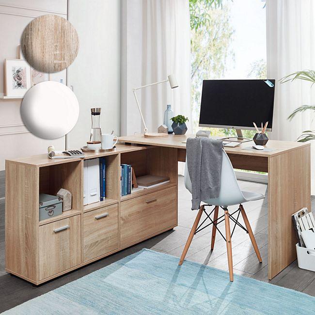 Wohnling Schreibtischkombination 136 x 75,5 cm x 155,5 cm Modern Home Office Winkelschreibtisch mit Sideboard - Bild 1