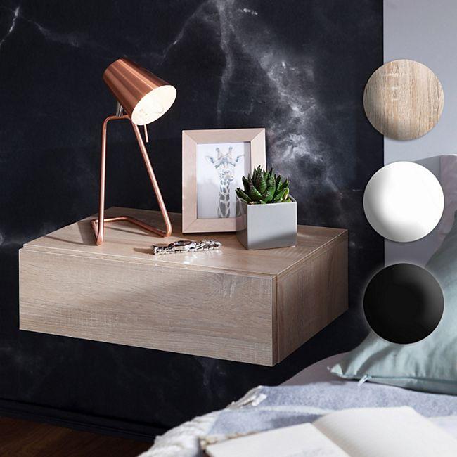 Wohnling Nachtkonsole DREAM für Wandmontage 46x15x30cm Nachttisch mit Schublade Nachtschrank schwebend - Bild 1