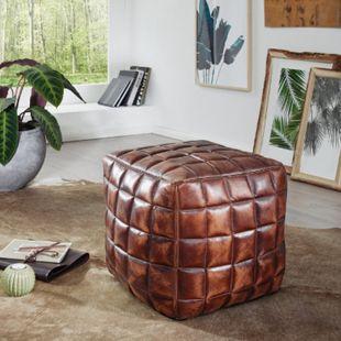 Wohnling Sitzwürfel STANLEY Echtleder braun 39x41x39 cm Ottomane Pouf Sitzhocker Beinablage Würfel Polster - Bild 1