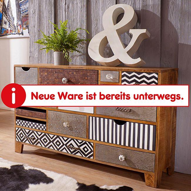 Wohnling Sideboard NEPAL 135x35x80 cm Massivholz Kommode 14 Schubladen Anrichte Wohnzimmer Highboard Bunt - Bild 1