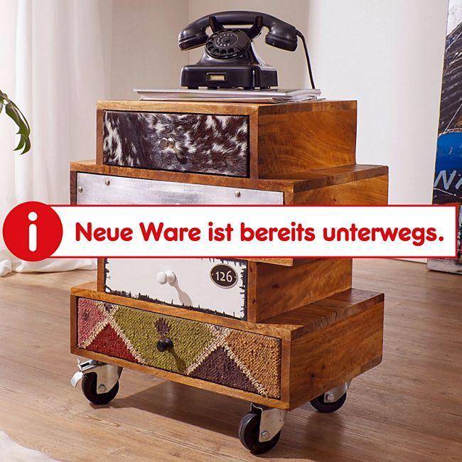 Wohnling Sideboard NEPAL 50x35x61 cm Anrichte 4 Schubladen Massivholz Kommode Schrank Multicolor rollbar - Bild 1