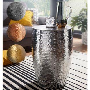 Wohnling Beistelltisch PEDRO 41,5x62x41,5cm Aluminium Dekotisch Orient Hammerschlag Abstelltisch Ablagetisch - Bild 1