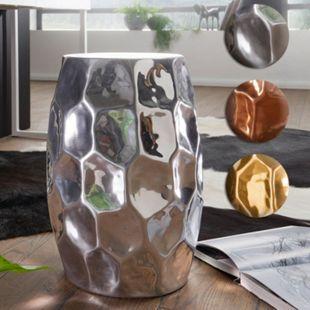 Wohnling Beistelltisch JADA Ø 30 cm Aluminium Dekotisch orientalisch Kleiner Hammerschlag Abstelltisch schmal - Bild 1