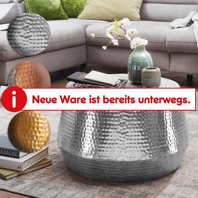 Wohnling Couchtisch MAHESH Ø 60 cm Aluminium Beistelltisch Orientalisch Hammerschlag Sofatisch Metall - Bild 1