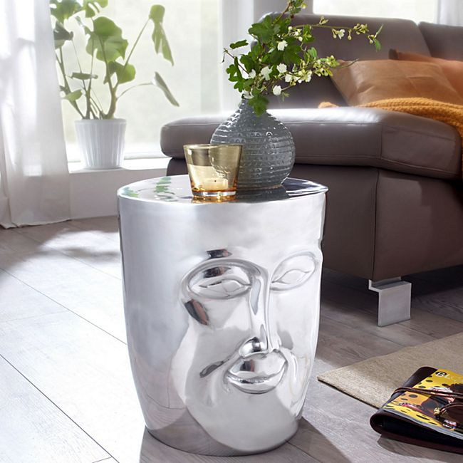 Wohnling Beistelltisch FACE Ø 35 cm Aluminium Couchtisch Sofatisch mit Gesicht aus Metall - Bild 1