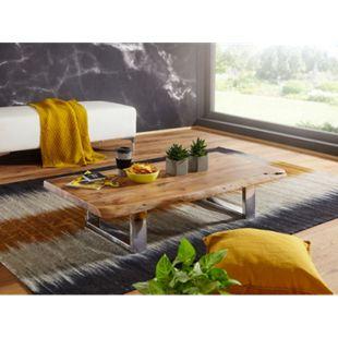 Wohnling Couchtisch ASURA 115x25x58 cm Akazie mit Metallgestell Wohnzimmertisch Massivholz Baumkante - Bild 1