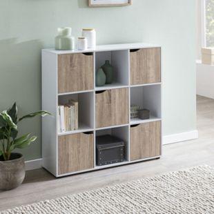 Wohnling Sideboard SAMO 89 x 91 x 29 cm Bücherregal mit 9 Fächern Sonoma Standregal Würfelregal Flurschrank - Bild 1