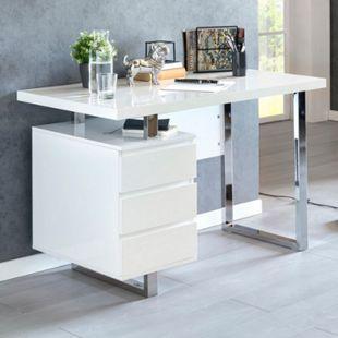 Wohnling Schreibtisch PATTY 115x60x76 cm Groß Weiß Hochglanz Computertisch Bürotisch 115 cm Konsole PC Tisch - Bild 1