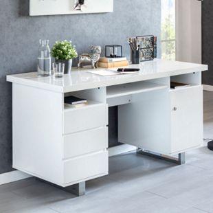 Wohnling Schreibtisch SALLY 140x76x60 cm Weiß Hochglanz Computertisch Bürotisch 140 cm Konsole PC Tisch - Bild 1