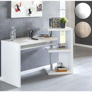Wohnling Schreibtisch 145x50x94 cm Bürotisch Regal Winkelschreibtisch Schwenkbar Computertisch Ordnerregal - Bild 1