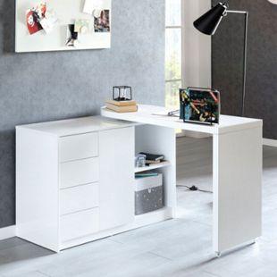 Wohnling Schreibtisch NAOMI 166x42x77 cm Weiß Hochglanz Computertisch Bürotisch 115 cm Breit PC Tisch Metall - Bild 1