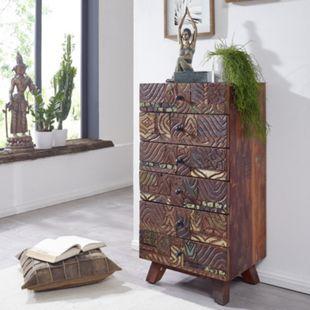 Wohnling Highboard Carved 50x101x40 cm Massivholz Vintage Anrichte Kommode Flurschrank Schubladenkommode bunt - Bild 1