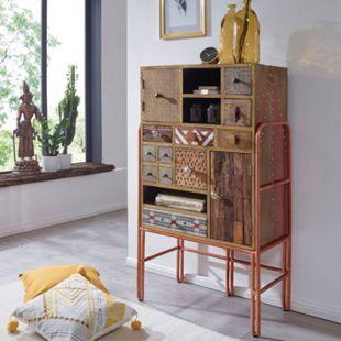 Wohnling Highboard FITTED 71x132x40 cm Metall Anrichte Bunt Kommode Schrank Schubladenkommode Metallschrank - Bild 1