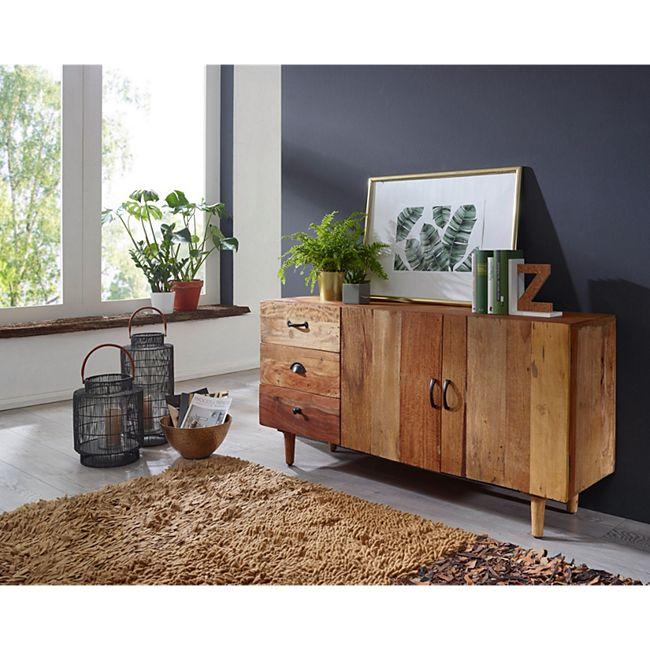 Wohnling Sideboard NIMA 138x69x40 cm Massivholz Vintage Anrichte ...
