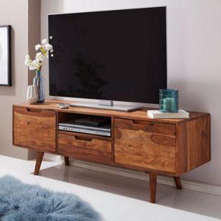 Wohnling HiFi Lowboard AMANA Sheesham Massivholz Landhaus 135x51x45cm Fernsehschrank Fernsehtisch - Bild 1
