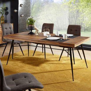 Wohnling Esszimmertisch WL5.581 Holz 200x77x100 cm Sheesham Massiv Metallbeinen Tisch Esszimmer Küchentisch - Bild 1