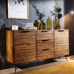 Wohnling Sideboard NISHAN 160 x 40 x 88 cm Sheesham Massivholz Kommode Anrichte Industrial Schrank - Bild 1