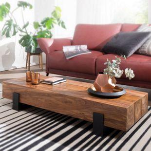 Wohnling Couchtisch SORON 115x22x44cm Sheesham Massivholz Sofatisch Wohnzimmertisch Stubentisch Kaffeetisch - Bild 1