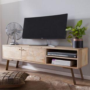 Wohnling HiFi Lowboard SIKAR Mango Massivholz TV Kommode 145x47x35cm Fernsehschrank Fernsehkommode TV - Bild 1
