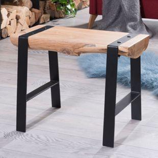 Wohnling Sitzhocker WL5.609 60x45x28 cm Vollholz Akazie Hocker Holz Metall Sitzbank Esszimmerhocker Baumstamm - Bild 1