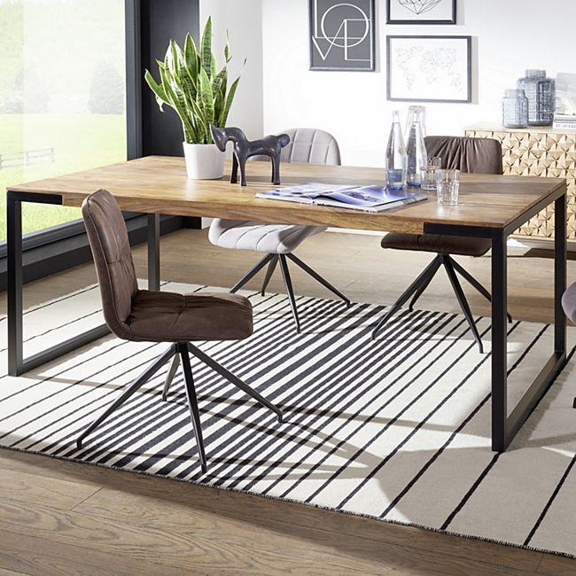 Wohnling Esstisch  GOYAR in 2 verschiedenen Größen Sheesham Holztisch Metallbeine Esszimmertisch Tisch Holz - Bild 1