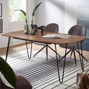 Wohnling Esszimmertisch KELA in 3 verschiedenen Größen Sheesham Massivholz Esstisch Metallbeine Tisch Holz - Bild 1