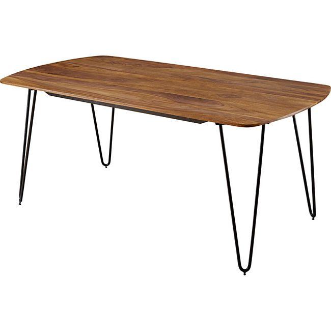 Wohnling Esszimmertisch KELA in 3 verschiedenen Größen Sheesham Massivholz Esstisch Metallbeine Tisch Holz
