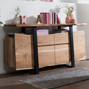 Wohnling Sideboard GAYA Akazie Kommode Massivholz 175x90x44cm Highboard mit Türen & Schubladen  Baumkante - Bild 1