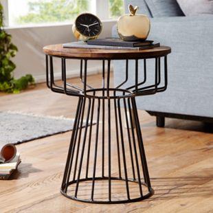 Wohnling Beistelltisch 47 x 55 x 47 cm WL5.644 Sheesham Metall Couchtisch Echtholz Tischchen Holztisch - Bild 1