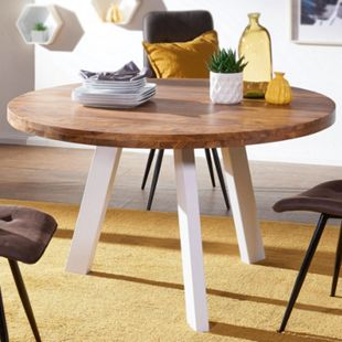 Wohnling Esszimmertisch WL5.652 130x130x77 cm Sheesham Massiv Esstisch Holz Metallbeine Tisch Küchentisch - Bild 1