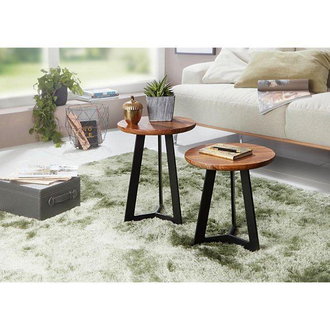 Wohnling Beistelltisch in 2 verschiedenen Größen Sheesham Metall Couchtisch Holz Tisch Anstelltisch Dekotisch - Bild 1