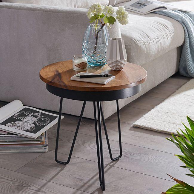 Wohnling Beistelltisch 43 x 45 x 43 cm WL5.680 Sheesham Couchtisch Tischchen Holztisch Sofatisch Metallbeine - Bild 1