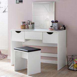 Wohnling Schminktisch WL5.725 100x132x49,5 cm Weiß Konsolentisch Holz Kosmetiktisch mit Hocker Frisiertisch - Bild 1