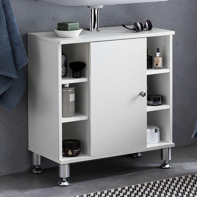 Wohnling Waschbeckenunterschrank 60x64x32 cm Badschrank mit Tür  Unterschrank Waschbecken Badezimmer