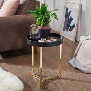 Wohnling Beistelltisch EVA 40x51x40cm Couchtisch Schwarz / Gold Wohnzimmertisch Metallgestell Tabletttisch - Bild 1
