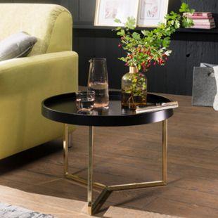 Wohnling Couchtisch EVA 58,5x42x58,5cm Schwarz / Gold Sofatisch Metall Retro Wohnzimmertisch Loungetisch - Bild 1