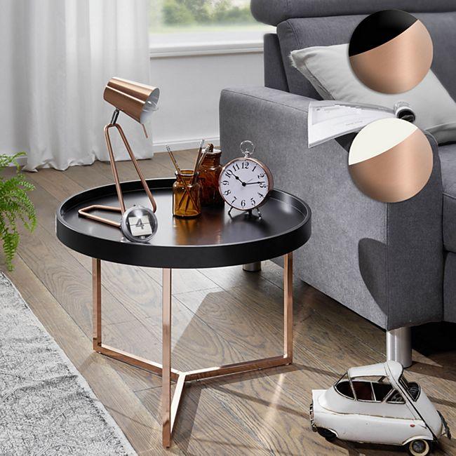 Wohnling Couchtisch EVA Ø 58,5 cm Sofatisch Metall Rund Wohnzimmertisch modern Kleiner Loungetisch - Bild 1