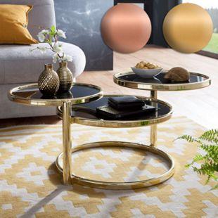 Wohnling Couchtisch SUSI mit 3 Tischplatten Schwarz 58x43x58 cm Glas / Metall Glastisch Sofatisch Loungetisch - Bild 1