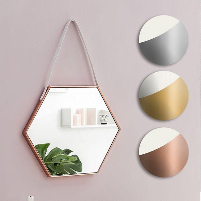 Wohnling Wandspiegel 48x57x4 cm Spiegel Flurspiegel Sechseckig Hängespiegel Garderobenspiegel Dekospiegel - Bild 1