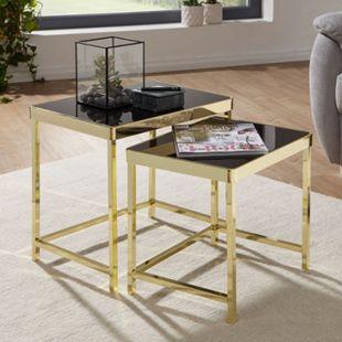Wohnling Satztisch VIOLA Schwarz/Gold Beistelltisch Metall/Glas Set 2 Tische Wohnzimmertisch Metalltisch - Bild 1