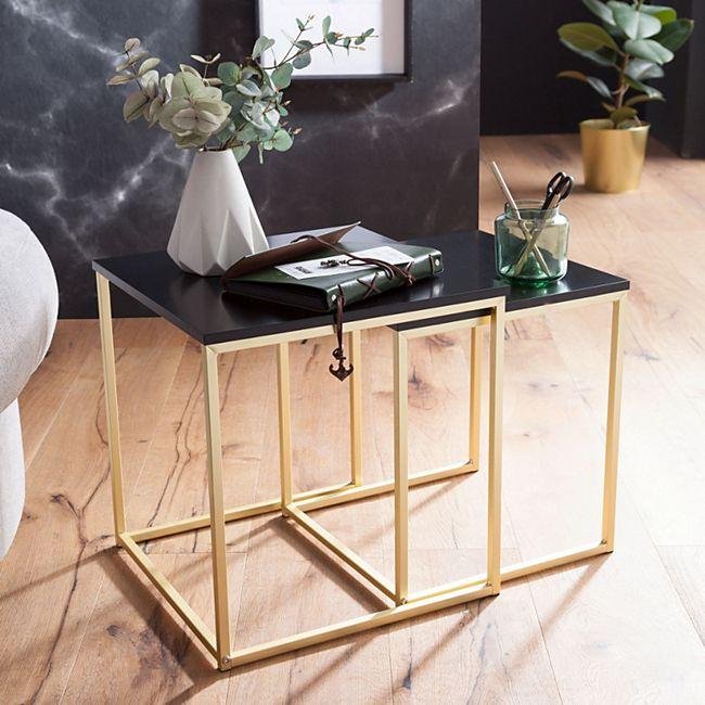 Wohnling Satztisch CALA Schwarz Beistelltisch MDF / Metall Couchtisch Set 2 Tische Kleiner Wohnzimmertisch - Bild 1
