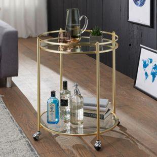 Wohnling Servierwagen JAMES Gold Ø 57 cm Beistelltisch Teewagen mit Rollen Küchenwagen Barwagen Küchentrolley - Bild 1