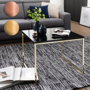 Wohnling Couchtisch RIVA 60x50x60 cm Metall Holz Sofatisch Wohnzimmertisch Kaffeetisch Loungetisch - Bild 1