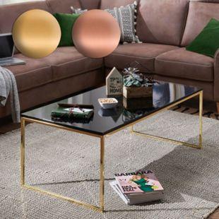 Wohnling Couchtisch RIVA 120x45x60 cm Metall Holz Sofatisch Schwarz/Gold Wohnzimmertisch Kaffeetisch Lounge - Bild 1